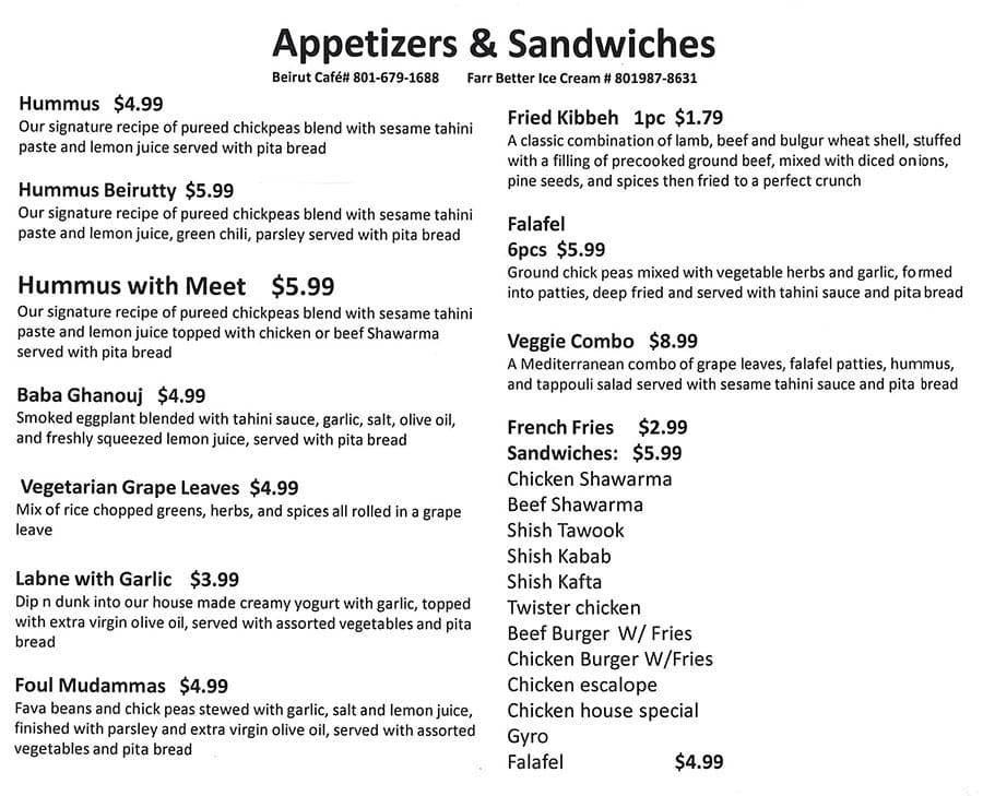 Beirut Cafe menu - appetizers and sandwiches