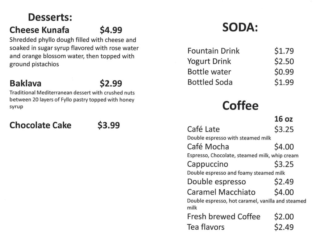 Beirut Cafe menu - desserts, drinks