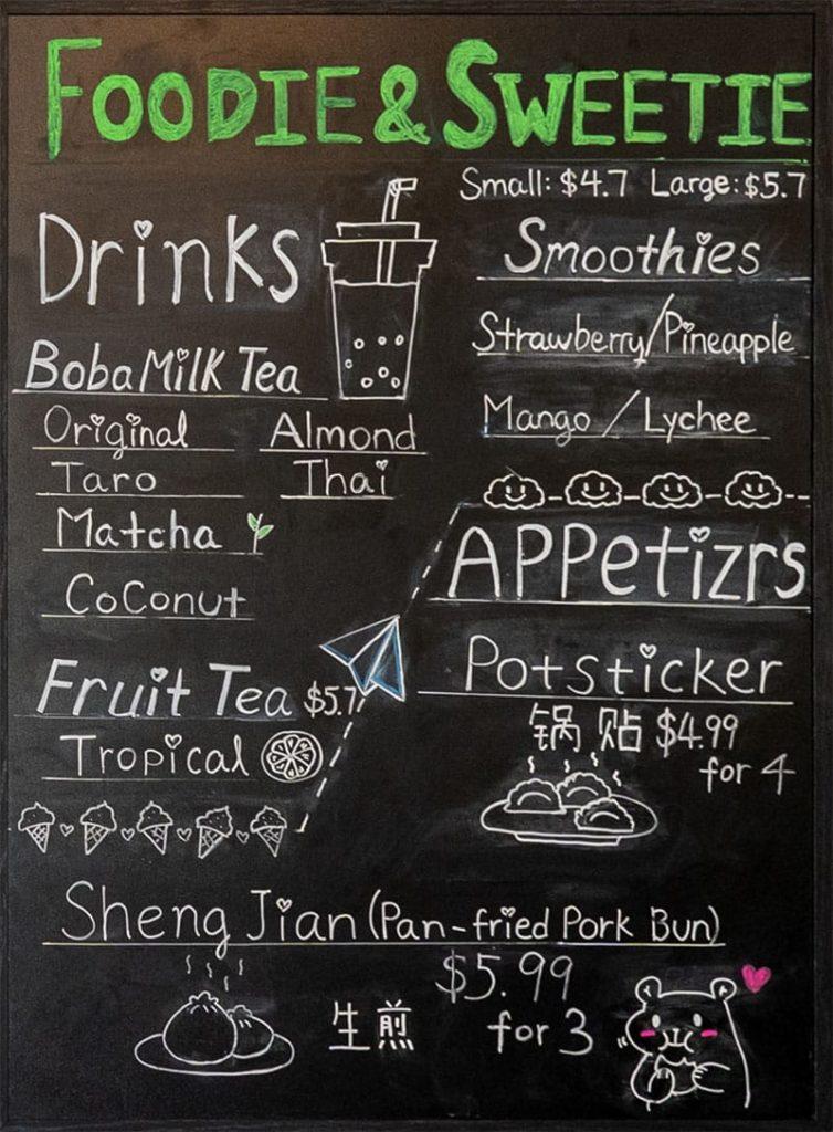 Foodie And Sweetie menu - drinks, appetizers