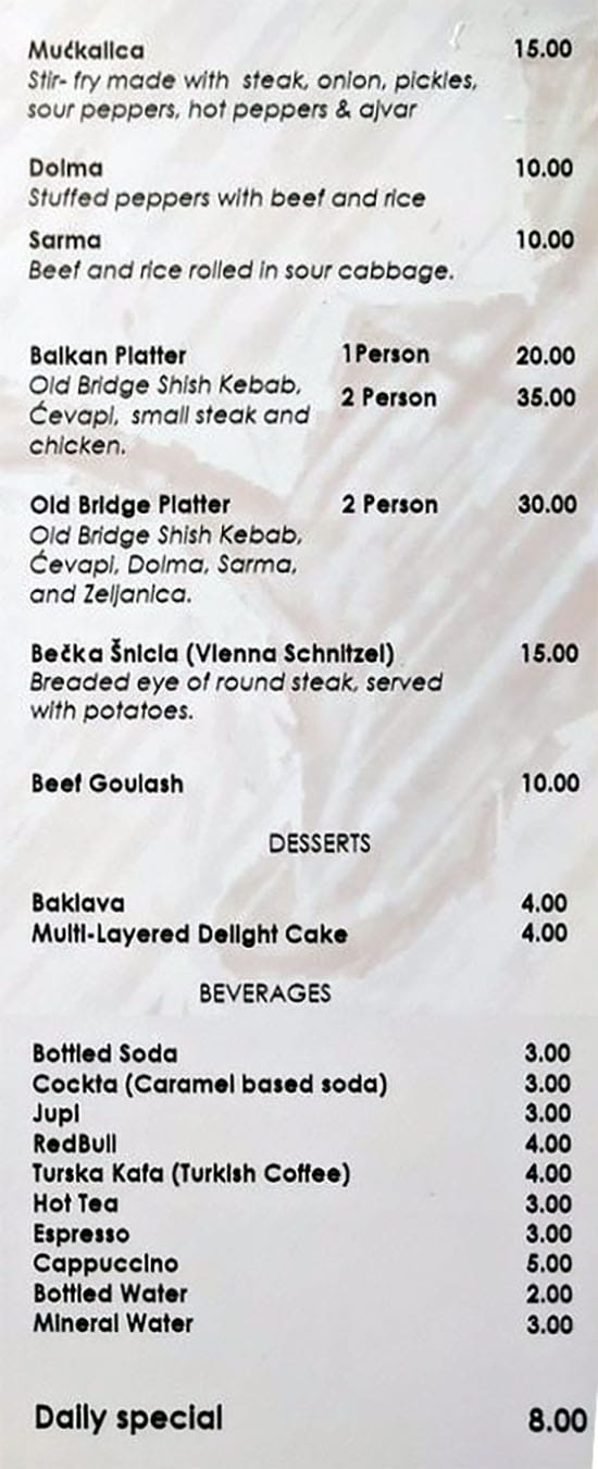 Old Bridge Cafe menu - main course, dessert, drinks