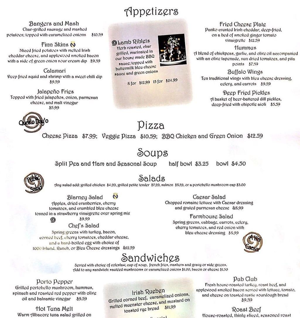 MacCool's Public House menu - appetizers, soups, salads, sandwiches