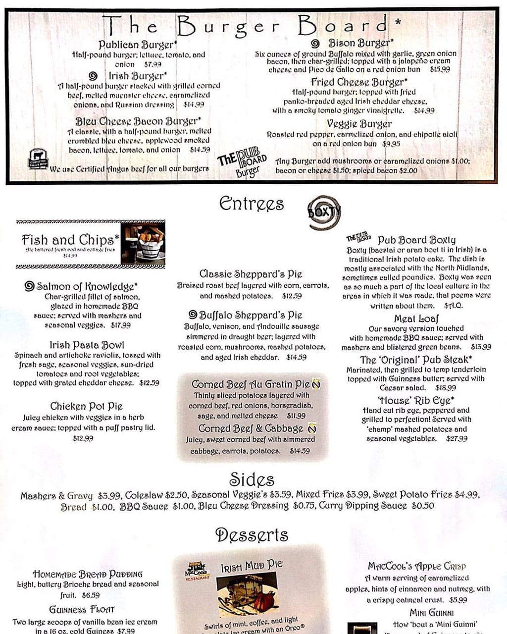 MacCool's Public House menu - burgers, entrees, sides, desserts