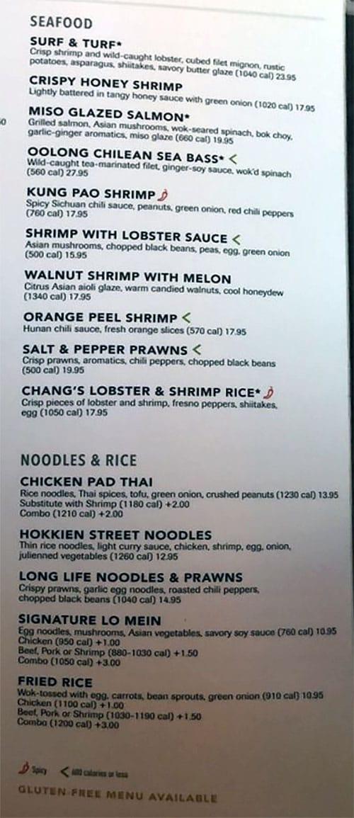 PF Chang's menu - seafood, noodles, rice