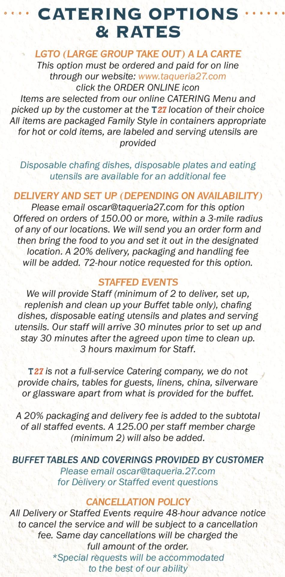 Taqueria 27 menu - catering options