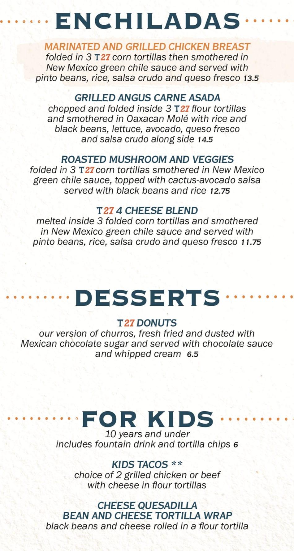 Taqueria 27 menu - enchiladas, desserts, kids