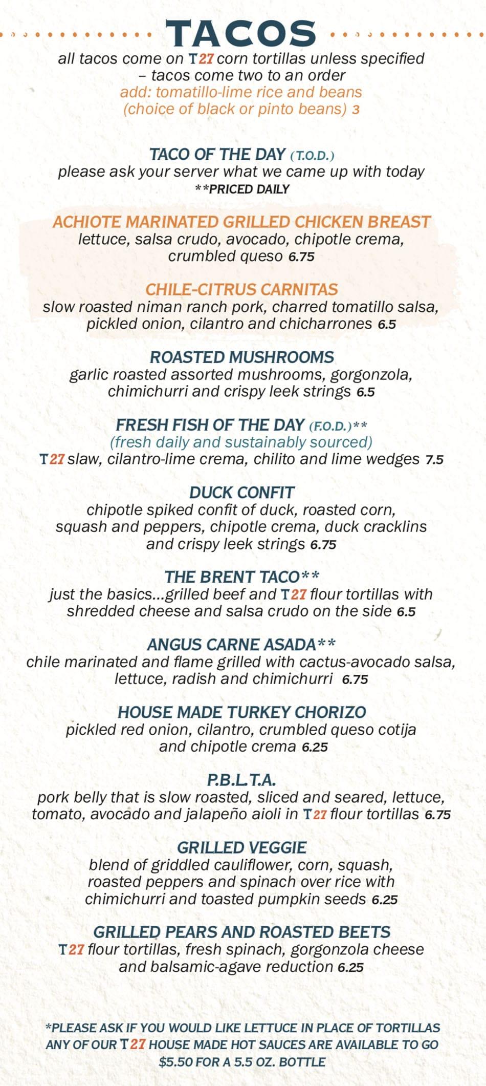 Taqueria 27 menu - tacos
