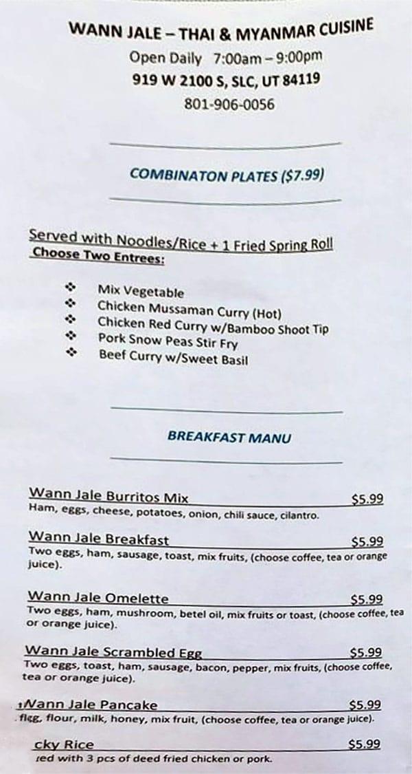 Wann Jale menu - combos, breakfast