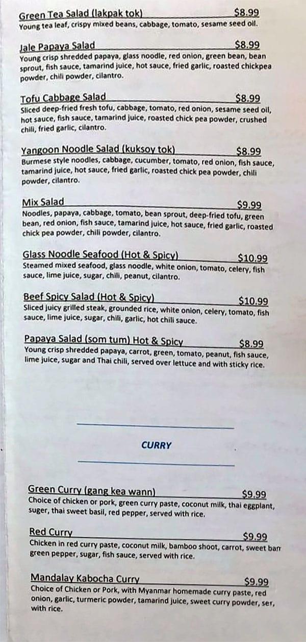 Wann Jale menu - salad, curry