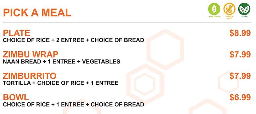 Zimbu menu - pick a meal